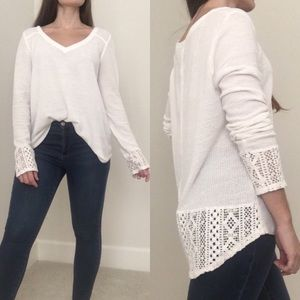 Lucky Brand white crochet thermal tunic top